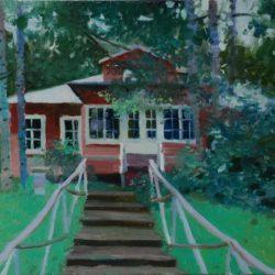 Деревянный дом. Красный дом. Лето. Лестница