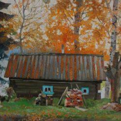 Речка. Баня. Золотая осень. Деревянный домик