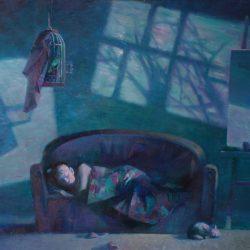 Мольберт. Холст на подрамнике. Крепкий сон. Лоскутное одеяло. Канарейка. Лунный свет из окна.