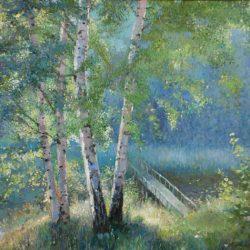 Лес. Березы. Деревянный мостик через речку