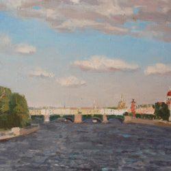 Биржевой мост. Река Нева. Ростральная колонна