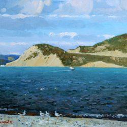 Черное море и чайки, Корабль в море. Прибрежные склоны гор. Пляж на море