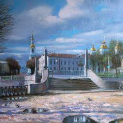 Красногвардейский мост. Весна. Никольская церковь. Голубой храм. Колокольня. Санкт-Петербург