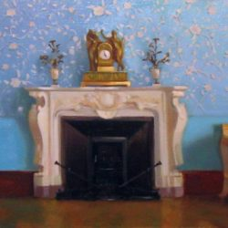 Камин. Богатый интерьер. Золотые часы. Декоративная голубая стена. Дворец князя Воронцова