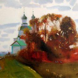 Осенние деревья. Белый храм. Сельская дорога. Тихий вечер