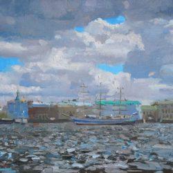 Петербург. Питер. Река Нева. Ветреный день. Низкие облака. Набережная