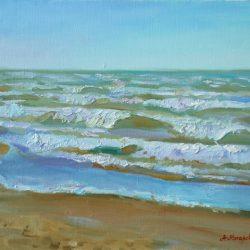 Волны на Средиземном море. Пляж. Ветреная погода