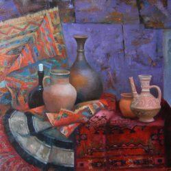 Восточный натюрморт. Глиняный кувшин. Красный ковер.