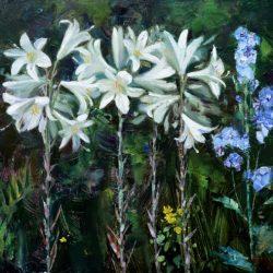 Белые лилии. Голубые колокольчики