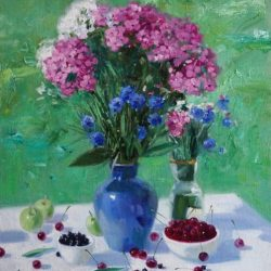 Розовые флоксы. Синяя ваза. Черешня. Зеленые яблоки. Натюрморт на свежем воздухе. Спелые фрукты