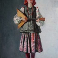 Русский народный костюм. Балалайка. Девушка с музыкальным инструментом