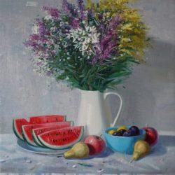 Спелые фрукты. Арбуз. Белый кувшин. Букет полевых цветов. Белая скатерть