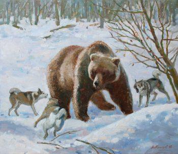 Медведь в лесу. Собаки. Охота на медведя.