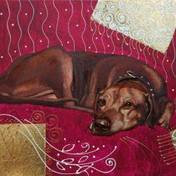 Собака на пурпурном фоне.