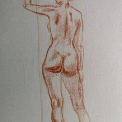 женская фигура, наброски, рисунок фигуры человека, обнаженная фигура