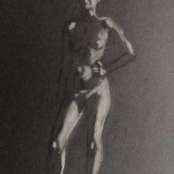 обнаженная женская фигура, набросок фигуры человека