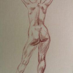 обнаженная модель, набросок фигуры человека, рисунок, графика