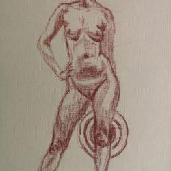 женская фигура, обнаженная модель, набросок фигуры человека