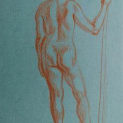 обнаженная модель, рисунок, набросок фигуры человека
