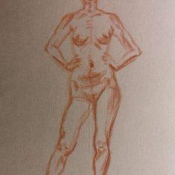 набросок женской фигуры, обнаженная модель