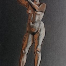 обнаженная модель, женская фигура, набросок